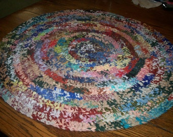 """Mixed Colors Crocheted Rag Rug 27"""" Round"""