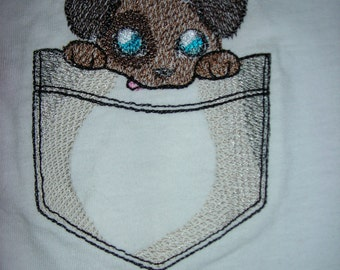 Pocket Pal Embroidered Child's T-Shirt--Puppy