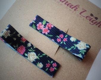 blue pink floral print grosgrain ribbon girls hair clips