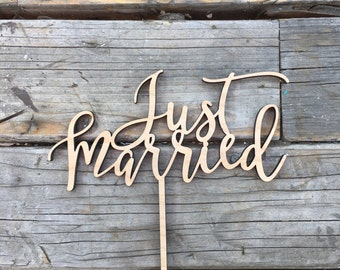 "Just Married Wedding Cake Topper | Rustic Cake Topper | Unique Wood Cake Toppers | Handlettered | Calligraphy Sign | 6.5"" inch"