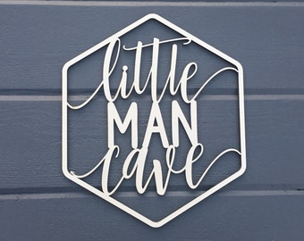 "Little Man Cave Geometric Wall Sign, 9.25""W x 11""H, Wooden Sign, Art for Nursery Decor Bedroom Kids Boys Room Teen Room Laser Cut Wood Sign"