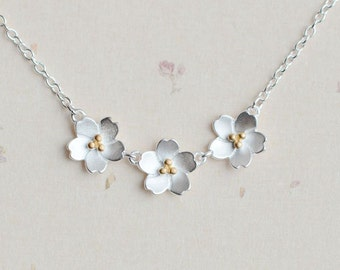 925 Sterling Silver Three Sakura Cherry Blossoms Necklace 16''  17''  1091