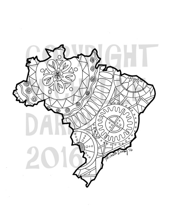 Brazil map mandala colouring page for Brazil map coloring page
