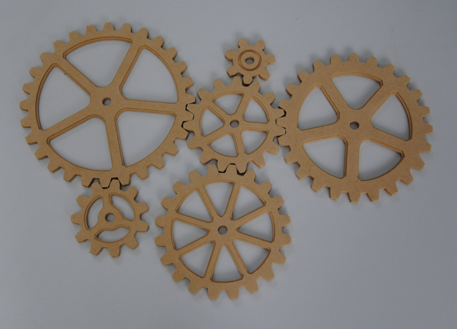 Large Wood Gear 6 Gear Set Wooden Cog Sprocket