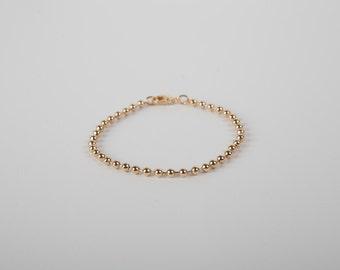 Pretty Bracelet Golden Silver Or Rosegolden Ball Chain Pearls Beads Bracelet