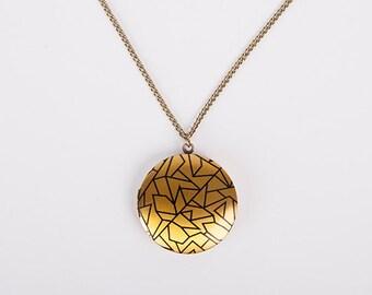 Necklace Photo Locket Minimal Print Triangle Yellow Black