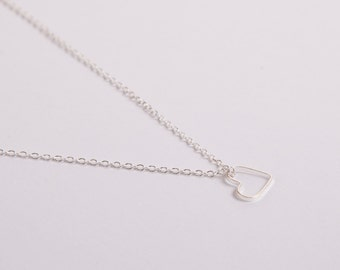Fine  Silver Necklace Heart Silverheart Heart Necklace Love Valentines Day Silver Plated