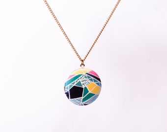 Necklace Photo Locket Minimal Print Triangle Yellow Colours Colourful Shapes