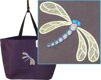 Intricate Dragonfly Tote Bag + Name Monogram Monogram Custom Embroidered