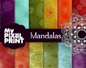 Mandalas - India - Red Blue Orange Green Yellow Violet Rainbow - Digital Scrapbooking Paper Pack - My Pixel Print