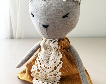 Cat doll, linen doll, unique gift/ Anastasia
