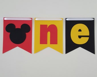 Mickey Mouse one banner, Mickey High Chair Banner, Mickey Banner, Mickey First Birthday