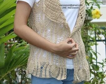 Handmade crochet beige shrug, lace shrug, summer vest, boho crochet for women.