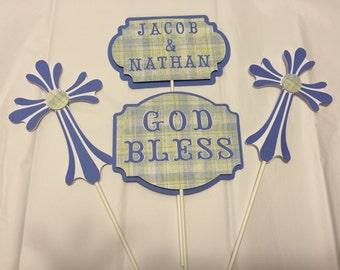 Baptism Center Piece, First Communion, Christening, God Bless Centerpiece, Confirmation