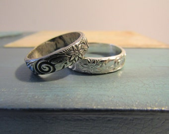 NEW Flowered Pattern Sterling Silver Ring- Sterling Silver Ring -Shiny or Antiqued