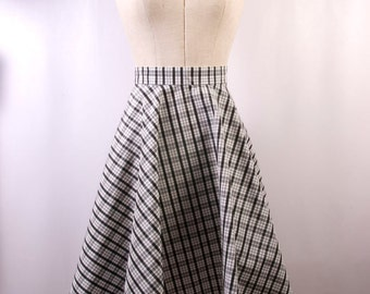 Circle Skirt in Black and White Check