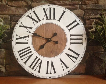 "Large 27"" to 32"" Handmade Wood Rustic Farmhouse Wall Clock"