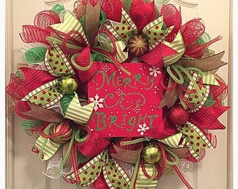 Merry and Bright Christmas Deco Mesh Wreath/Christmas Wreath/Merry and Bright Wreath/Winter Wreath/Snowflake Wreath/Lime and Red Wreath