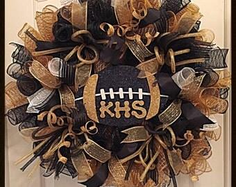 Custom Football or Sports Teams Deco Mesh Wreath/Sports Wreath/High School Wreath/College Wreath/NFL Football Wreath