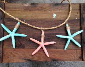 Starfish aqua Wall hanging garland turquoise, beach party,  wedding,  porch mantel decoration rehearsal decor