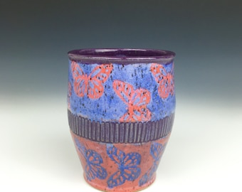 Pink ceramic cup, butterfly pottery decor, wheel thrown cup, pink and purple cup, ceramic wine cup, pottery tumbler