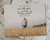 """Wedding Save The Date Magnets - GrassyField Rustic Photo Personalized 4.25""""x5.5"""""""