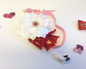 Red and White Headband, Valentine's Headband, Toddler, My First Valentine, Props, Smash Cake Pictures, Fancy, NewBorn, Princess, Easter