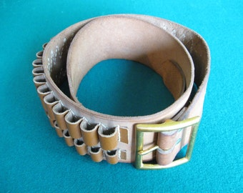 Leather Double Loop Cartridge Belt  ( for rifle cartridges )