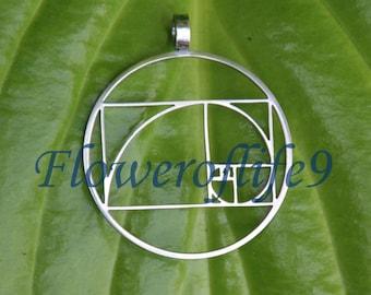 Fibonacci Golden ratio pendant (1 inch) - Stainless Steel