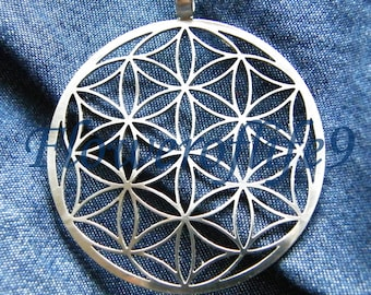 Flower of life pendant 1 3/4 (seven circles) - Stainless Steel