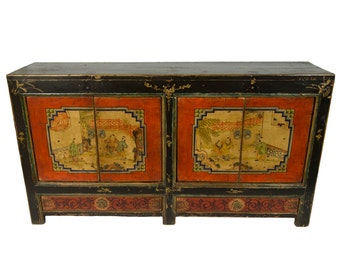 Antique Mongolian Storage Credenza with Lacquered Red Doors and Chinese Motif (Los Angeles)