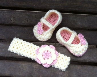 Pink and Cream Crocheted Baby Mary Jane Shoes and Headband // Super Soft Crocheted Baby Shoes with Matching Flower Headband // Baby Gift