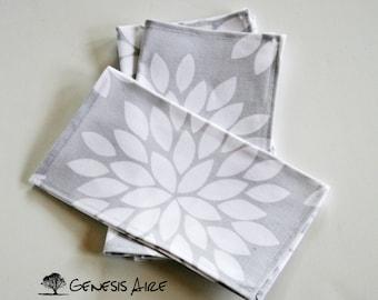 Grey Floral Cotton Cloth Lunch Napkins Small Kids Napkins // Set of 4 Eco-friendly Napkins // Kids Cloth Napkins Gray Floral Napkins