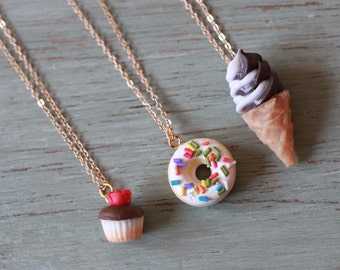 Sweet Treats Dessert Necklaces! whimsical cute fun accessories kids jewelry kitschy kawaii miniatures cupcake donut ice cream cone necklace