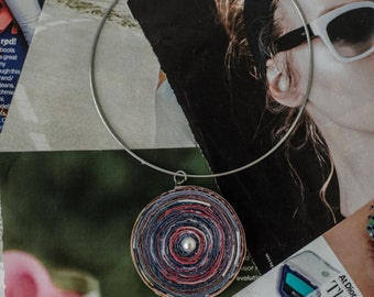 Necklace pendant, handmade with Recycled Magazine pages, gift