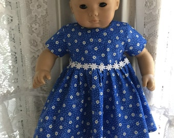 Bitty Baby blue and white flowered dress