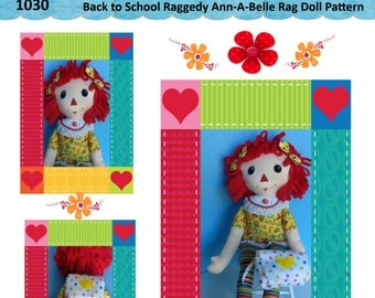 "Easy Cloth Rag Doll PDF Pattern Back to School Raggedy Ann  22"" Rag Doll Pattern- Easy Beginner PDF Sewing Patterns by Peekaboo Porch"
