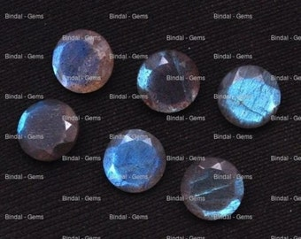 10 Pieces Lot Natural Labradorite Round Shape Faceted Cut Calibrated Gemstone