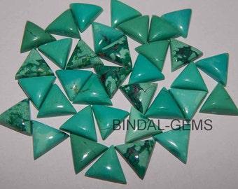 5 Pieces Lot Natural Turquoise Shape Triangle Loose Gemstone Flatback Cabochon