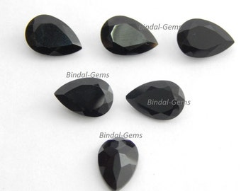 25 Pieces Wholesale Lot Amazing Black Onyx Pear Shape Faceted Cut Gemstone For Jewelry
