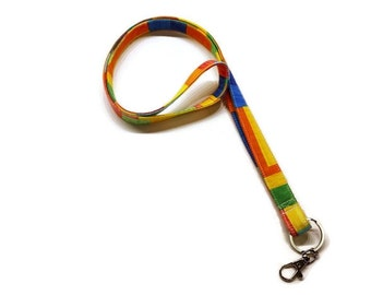 Colorful fabric lanyard keychain, ID badge holder, teacher lanyard, back to school. Monogramming available.
