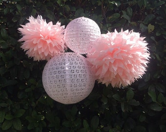 PINK WEDDING // 2 tissue paper pom poms/2 paper lanterns / wedding decorations, baby shower, nursery, bridal shower, birthday, tea party