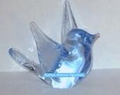 Reijmyre Sweden Blue Glass Suncatcher Paperweight Bird Figurine