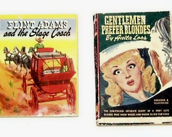 Miniature Hard Cover Books - Flint Adams and the Stage Coach 1949   Gentlemen Prefer Blondes 1945
