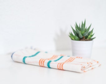 Vintage Kitchen Towel / Hand Woven Tea Towel / German Antique Striped Kitchen Dish Cloth / Plaid Cream Orange and Teal Tea Towel