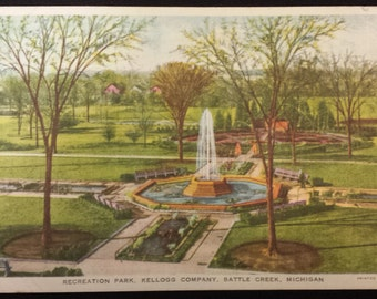 1936 Vintage Postcard Featuring Kellogg Co. Rec Park in Battle Creek, MI