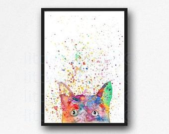 Rainbow Peeking Cat Print Watercolor Painting Print Cat Lover Gift Cat Decor Living Room Decor Wall Decor Cat Wall Art Cat Painting Print