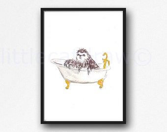 Bath Time Sloth in a Claw Foot Tub Watercolor Painting Art Print Watercolor Print Watercolour Wall Art Watercolor Wall Decor