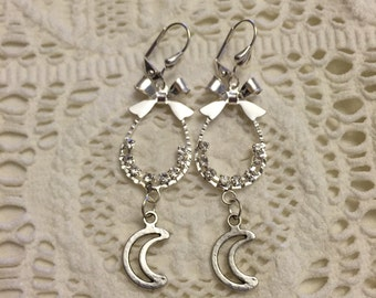 Moon Bow Earrings, Moon Dangle Earrings, Moon Charms, Moon Earrings, Boho Earrings, Bow Earrings, Silver Moon Charm Dangle Earrings