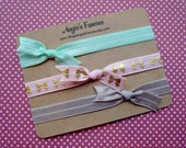 Simple Elastic Bow Headband Set in Pastel Pink, Mint and Grey with Gold Bows, Dainty Bow Pastel Headband Gift Set For Babies and Toddlers